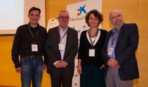 """Marcus Buschbeck (IMPPC), Enric Banda (""""la Caixa""""), Montserrat Vendrell (Biocat) and Manuel Perucho (IMPPC)."""